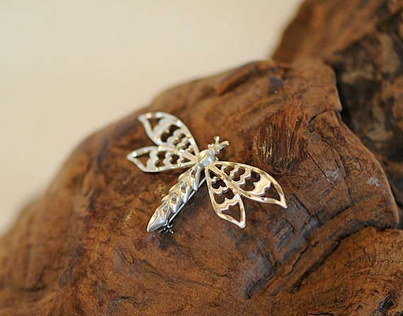 Vintage Sterling Silver 925 Openwork Dragonfly Pin / Brooch (#53)