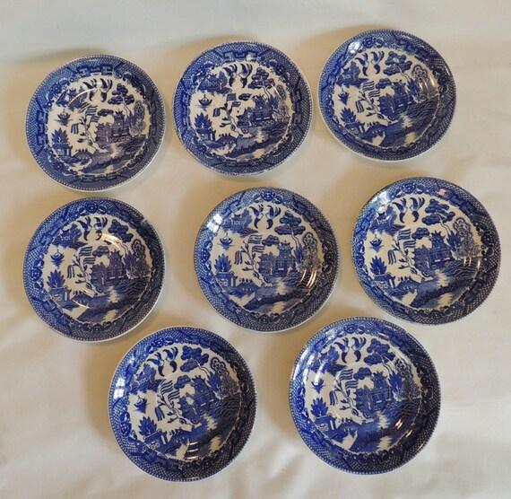 8 Vintage Blue Willow Porcelain Saucers.. Japan