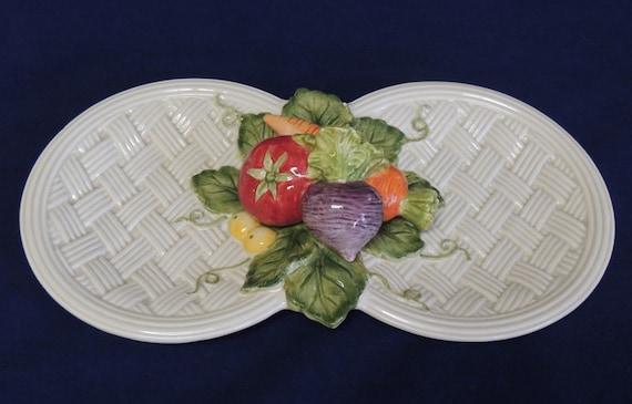 FITZ & FLOYD Vegetable Garden Basket Weave Double Serving Platter.. Cottagecore