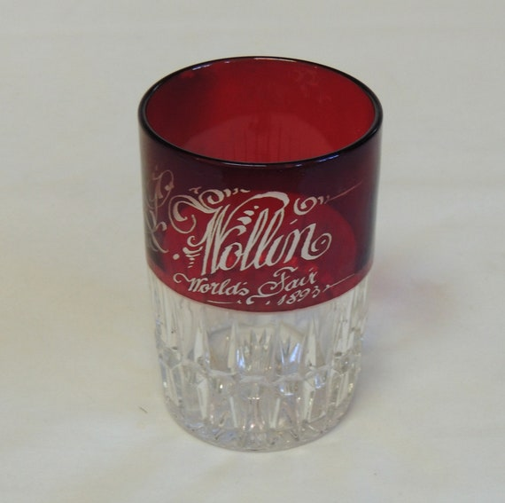 1893 Worlds Fair Chicago Souvenir.. Victorian Ruby Stained Glass Cup Tumbler