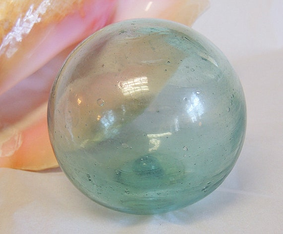 """Vintage 13"""" In Circumference Japanese GLASS FISHING FLOAT.. Sky Blue, Bubbles (#25)"""