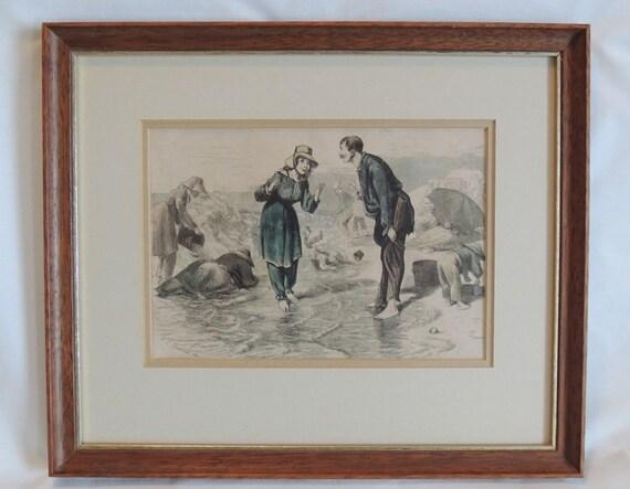 Framed 1872 Hand Colored Wood Engraving W. Sheppard Seashore Scene.. Estate Item