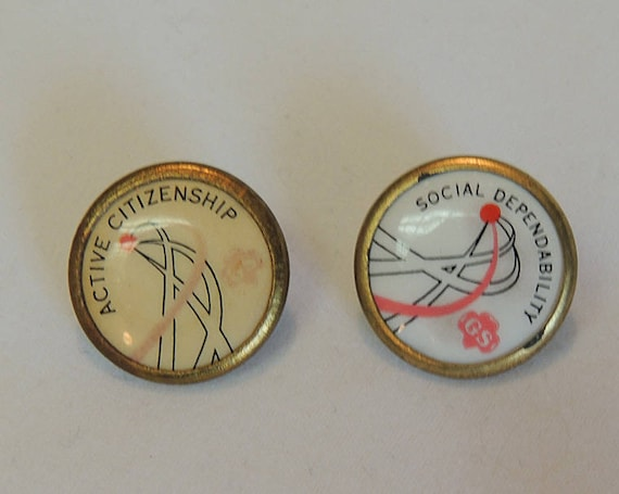 2 Vintage 1960's-70's Girl Scouts Pins.. Active Citizenship & Social Dependability (Lot #7)