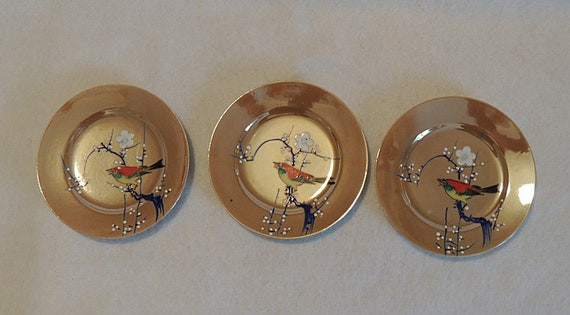 3 Vintage Luster Hand Painted Plates MADE IN JAPAN Bird & Raised Moriage Design