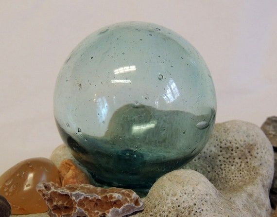 Vintage Small Japanese Glass FISHING FLOAT.. Many Bubbles & sky Blue  (#9)
