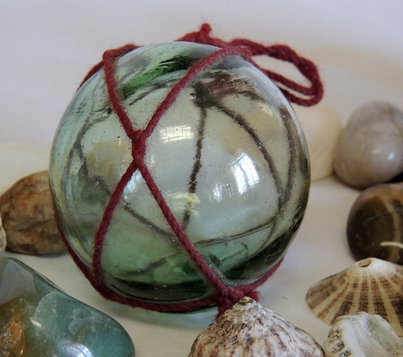 Vintage Japanese Glass FISHING FLOAT.. Net, Moss Green & Makers Mark (#6)