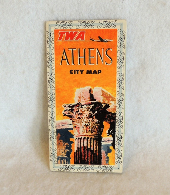 Vintage 1950s TWA Airlines Athens Greece City Map Travel Brochure.. Ephemera