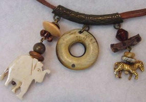 Vintage Native Tribal Style Necklace.. Elephant, Zebra, Natural Elements