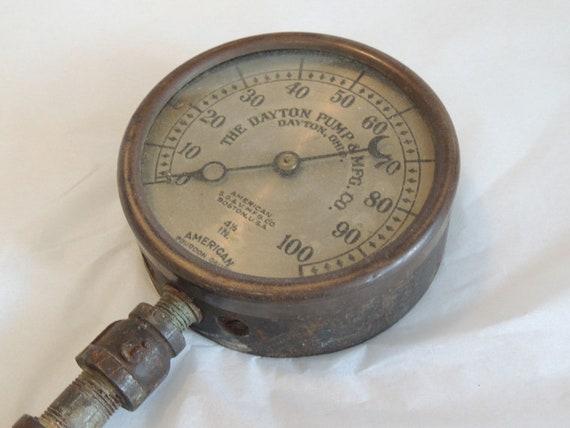 Vintage American Bourdon Pressure Gauge By American S.G. & V. Mfg Co.. STEAMPUNK