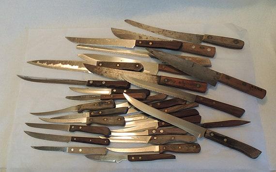 Lot Of 30 Vintage Wood Handled Kitchen Knives.. Riveted Handle.. Estate