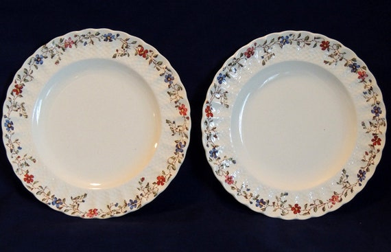 2 Vintage Copeland Spode Wicker Dale 8.75 Inch Round  Luncheon Plates.. Old Mark