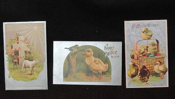 3 Vintage EASTER GREETING POSTCARD Duckling Chicks Lamb Eggs Basket.. Unused (#1)