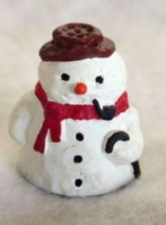 Vintage English Hand Painted Pewter Snowman Thimble - Artist Signed