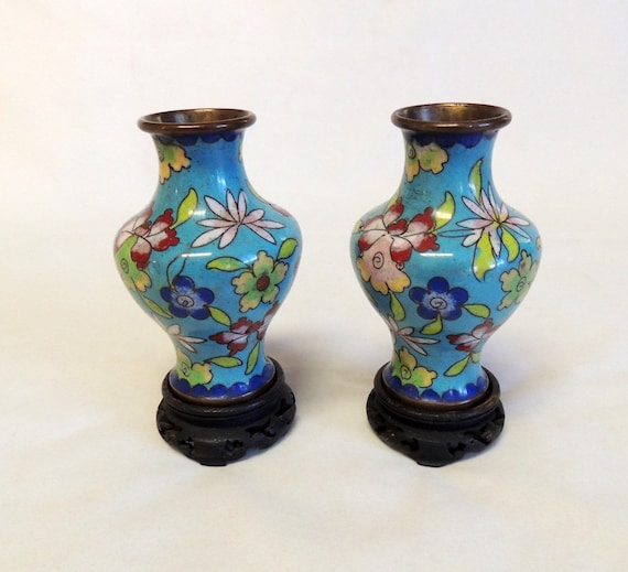 Pair Of Vintage Cloisonne Miniature Vases With Wood Stands