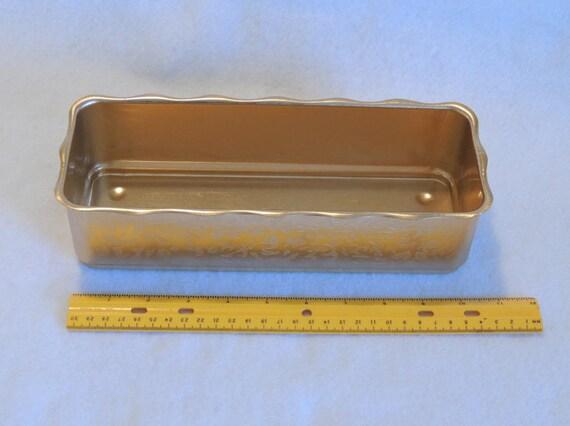 Vintage Mirro USA Goldtone Textured Aluminum Mid Century Planter Box