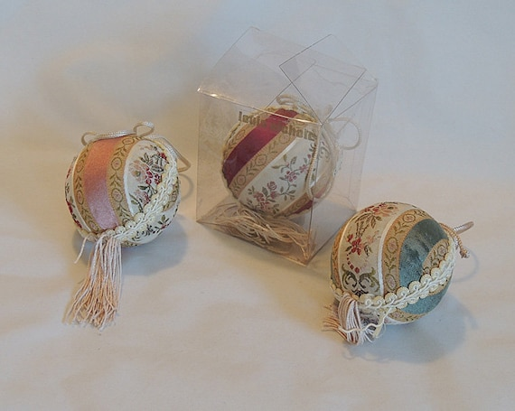 3 Louis Nichole Kurt Adler 1980s Victorian Fabric Ball Christmas Ornaments