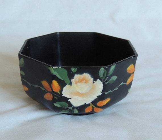 Vintage Brentleigh Ware Black 8 Sided Bowl W Yellow Roses.. 1920s-1930s ENGLAND
