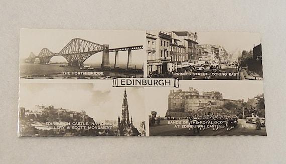 Vintage 1950s Edinburgh Real Photo Panorama BW Valentine's Postcard.. 4 Views