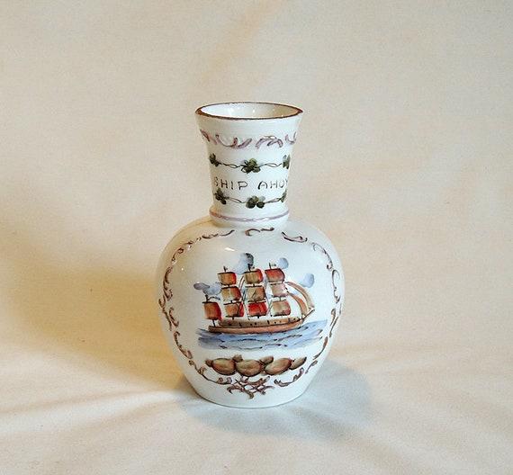 Vintage Fenton Charleton Vase.. Hand Painted Embossed Milk Glass.. SHIP AHOY Nautical