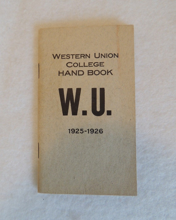 LeMars Iowa.. 1925 -1926.. Western Union College Student Hand Book YMCA