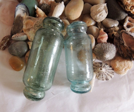 2 Unique Vintage Japanese Rolling Pin GLASS FISHING FLOATS.. 5 & 6 Inch Blue / Green (#26)
