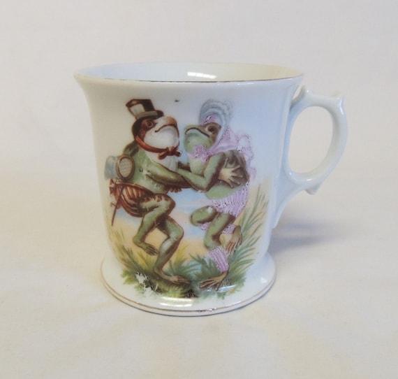 Rare Victorian Porcelain Mug.. Anthropomorphic Dancing Frog Couple