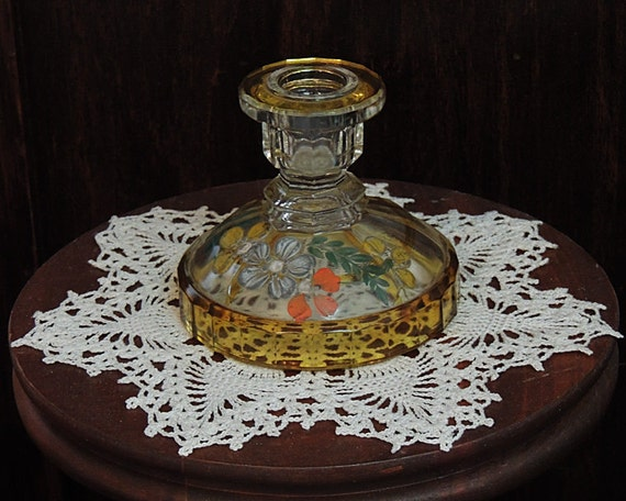 "Vintage Clear & Amber Flashed Glass Hand Painted Floral 3.75"" Candle Holder (#2)"