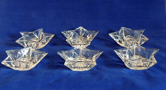 6 Vintage Glass Star Taper Candle Holders.. Wedding Party