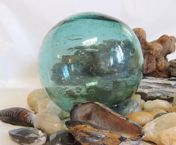 "Vintage  13"" In Circumference Japanese GLASS FISHING FLOAT Bubbles & Striations (#55)"