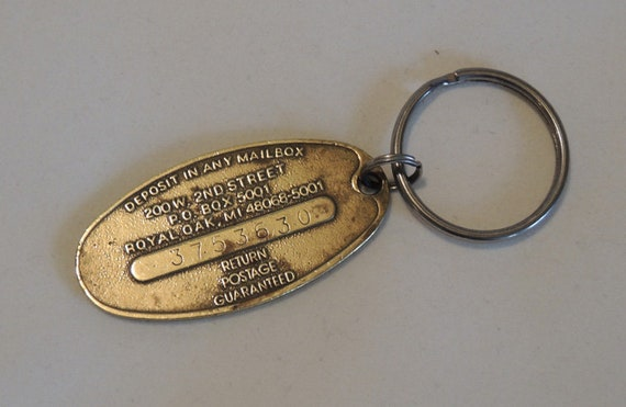 Vintage Brass CHEVROLET Key Ring Chain.. Commitment To Excellence.. Chevy Fob