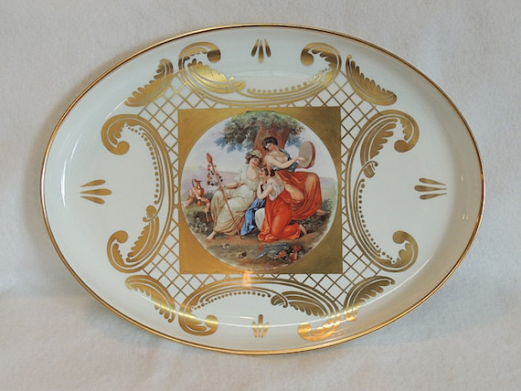 "Antique Early Schonwald Beehive Porcelain 12"" x 16"" Portrait Tray.. Germany.. Very Rare Estate Piece"