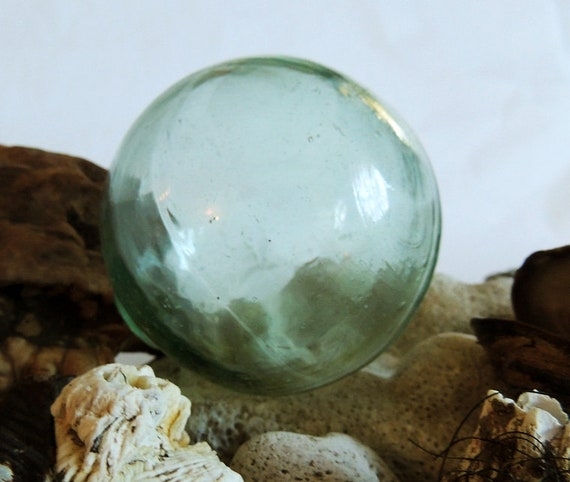 Vintage Japanese GLASS FISHING FLOAT.. Moss Green. Many Bubbles, Mark (#91)