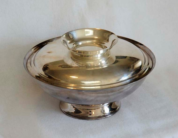 "Vintage Wallace Silverplate 12"" Footed Bowl W Cover.. Wedding Restaurant Hotel"