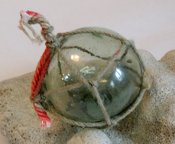 Vintage Japanese 2.5 Inch Glass Fishing Float.. Moss Green And Net  (#11)