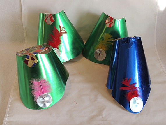 4 Vintage New Years Paper Party Hats.. Foil Cardstock With Feather.. Mid Century