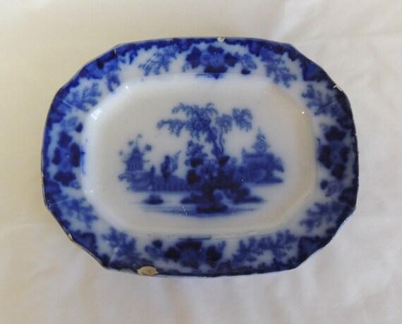 """Antique Flow Blue Platter.. 8"""" x 10"""".. J & G Alcock SCINDE ORIENTAL STONE"""