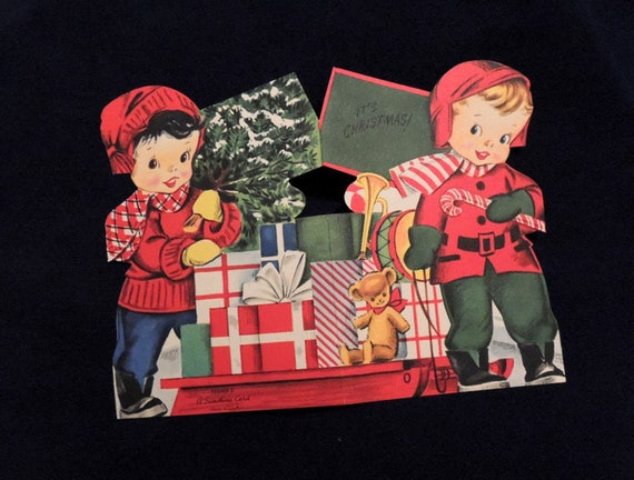 Unused.. 1940s Double Sided Die Cut Christmas Card.. Cute Boys. Tree & Gifts (#2)