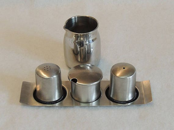 Vintage Retro Stainless Steel Mid Century Condiment Set W Tray & Polar Restaurant Creamer