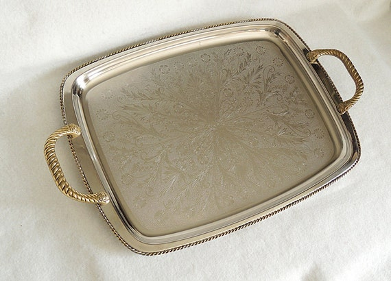 Vintage Mid Century Serving Tray.. Eldan Stainless Steel With Brass Handles 12 x 16