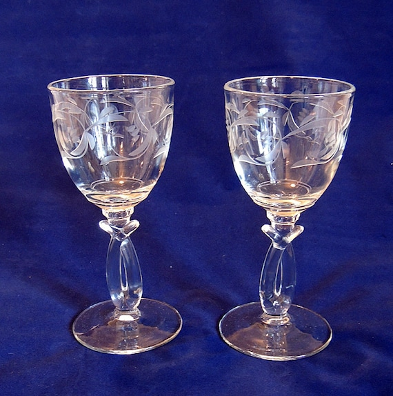 2 Rare Split Stem etched & Cut Crystal Glass 4 Ounce Wine Goblets