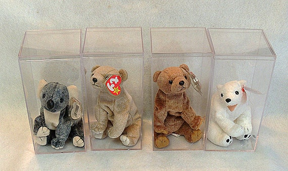4 Retired Ty Beanie Babies.. Original Bears.. W Display Cases.. Eucalyptus, Aurora, Pecan and Almond.. 1998-2000.. MWMT