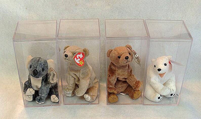 15280c921bb 4 Retired Ty Beanie Babies.. Original Bears.. W Display Cases