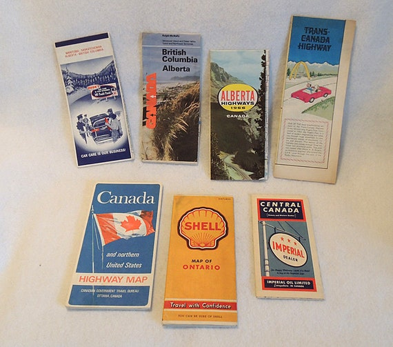 7 vintage 1940-70s Canada Road Highway Maps Husky, Shell, Imperial, & More