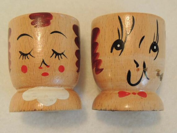 Pair Vintage WOODEN EGG CUPS.. Man & Lady Hand Painted Faces