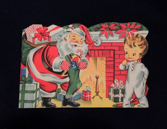 Unused.. Double Sided Santa 1940s Sunshine Die Cut Christmas Greeting Card (#1)