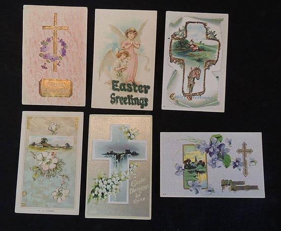 6 Vintage EASTER POSTCARDS.. Religious Cross Christian Angels, Glitter Embossed (#3)