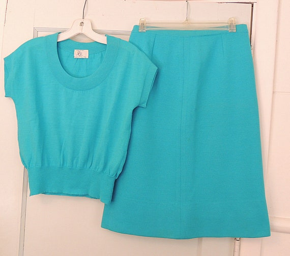Vintage 1950s-60s Made In Italy Knit Sweater Top & Skirt Set Med.. Madelyn Fio Rito