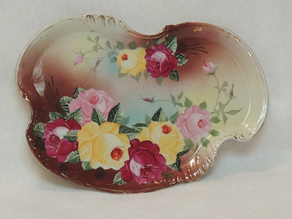 Victorian Royal Kinran Nippon Antique Porcelain Dresser Vanity Tray.. Hand Painted Roses