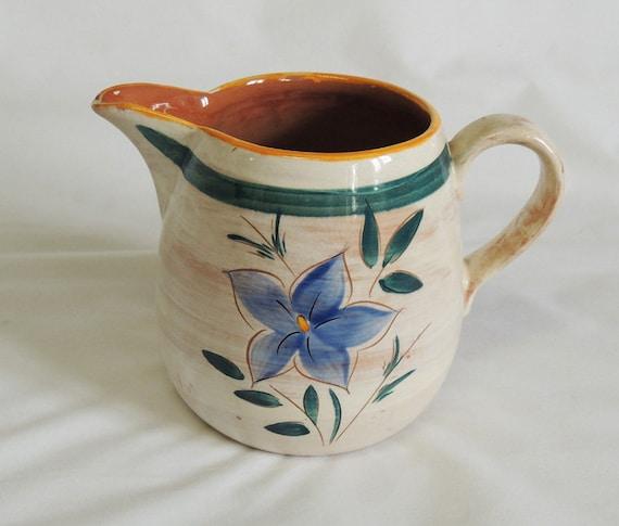 Vintage Stangl Pottery Pitcher Terra Rose Garden Flower