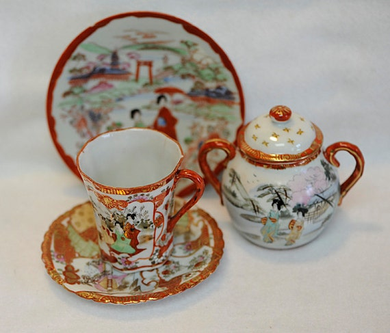 5 pieces antique Geisha Girl Hand Decorated Japanese Porcelain China
